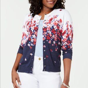 NWT Karen Scott beautiful floral cardigan sweater.
